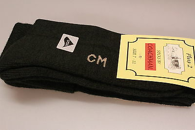 One Pair Men's Knee Length Plus 2 Socks Green Padded Foot Bed/Sole Wool Mix 7-11