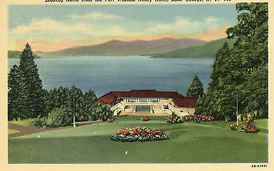 LOOKING NORTH FROM FORT WILLIAM HENRY HOTEL, LAKE GEORGE NY POSTCARD MAILED 1958