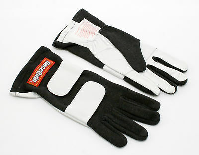 RaceQuip 312006 X-Large 2-Layer Black Auto Racing Driving Gloves Nomex SFI Rated
