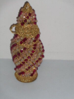 Vintage Lidded Gold & Red 7 White  Beaded Clear Glass Jar (10 inch)