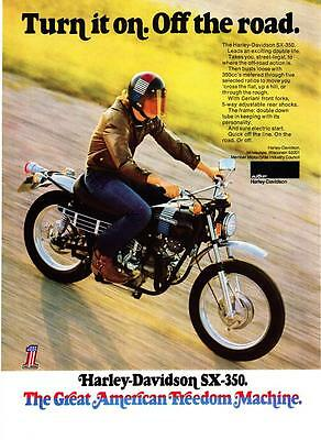 "1973 Harley-Davidson SX-350 Motorcycle photo ""Turn It On"" vintage print ad"