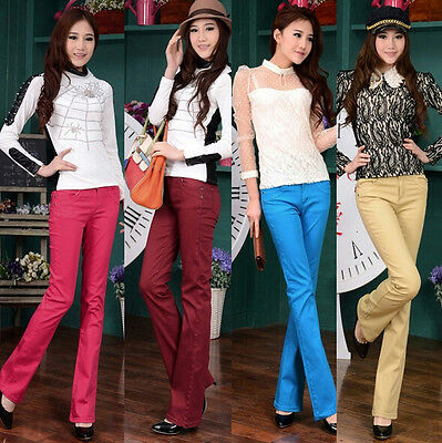 Women's High Waist Slim Trousers Stretch Skinny Leggings Pencil Candy colorPants