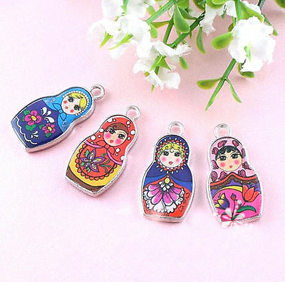 Two-Sided Pattern Enamel Russian Doll Charm Pendant Necklace DIY Jewelry Accesso