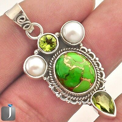 12.12cts GREEN COPPER TURQUOISE PERIDOT PEARL 925 SILVER PENDANT JEWELRY E28072