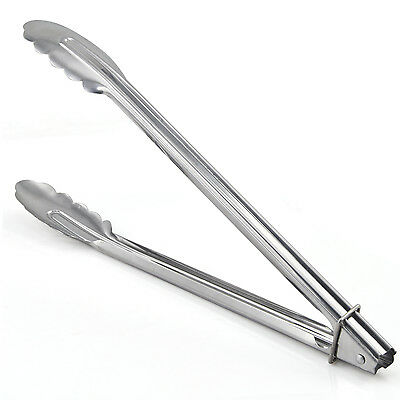 Stainless Steel Kitchen Utensil, Salad Oven Grill BBQ Tongs - By TRIXES