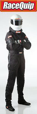 Large Black Single Layer 1 Piece Race Driving Fire Safety Suit SFI 3.2A/1 Rated