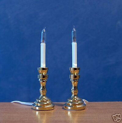 1/12 Dolls House light Working 2 Candle Sticks Lamps miniature candlesticks LGW