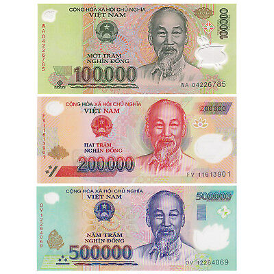 Vietnam 500,000 X 2 Pieces (PCS) = 1 Million Dong Currency VND Banknotes