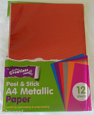 Peel and Stick A4 Coloured Paper 12 Sheets of mixed Metallic
