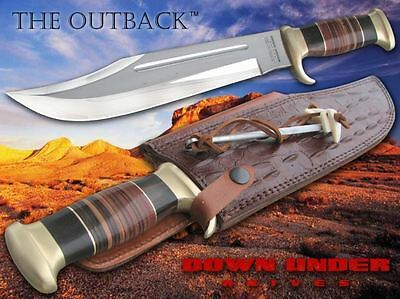 Down Under Knives The Outback Bowie Knife + Leather Sheath & Sharpening Spike
