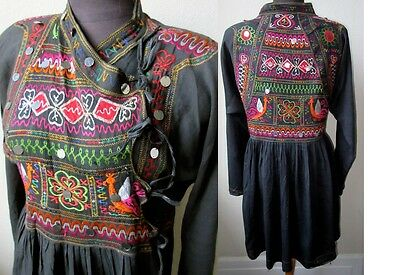 Vtg. Rare Kutch Banjara Rajasthani Embroidered Cotton Tribal Tunic Jacket