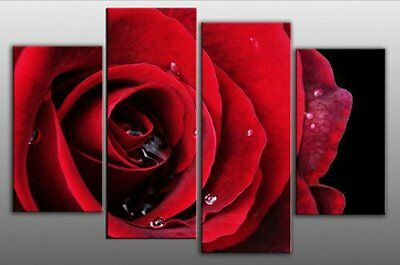 100% Handicraft Modern Abstract Huge red Rose Oil Painting On Art Canvas 4pcs