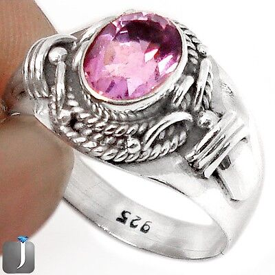 3.80cts NATURAL PURPLE AMETHYST 925 STERLING SILVER RING JEWELRY SIZE 7.5 F22089
