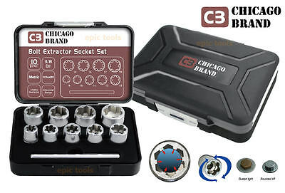 CHICAGO BRAND 10 Piece Bolt Grip Damaged Rounded Nut/Bolt Remover Set, 8 To 19mm