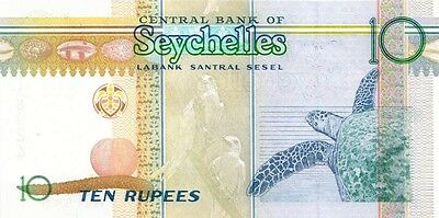 SEYCHELLES 2005 ND 10 RUPEES BANK NOTE in a Protective Sleeve