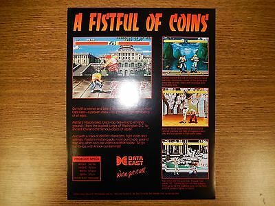 Data East Fighter's History Arcade Game Advertising Flyer.