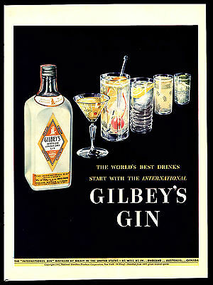 "Original 1942 ""gilbey's Gin""  London Dry Gin - Worlds Best Drinks  Art Print Ad"