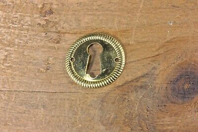 "1"" round Keyhole Door chest Lock Escutcheon Plate old skeleton key brass vintage"