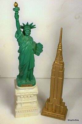"Empire State Building 10.75"" Tall & Statue Of Liberty 13"" Tall Souvenir Statues"