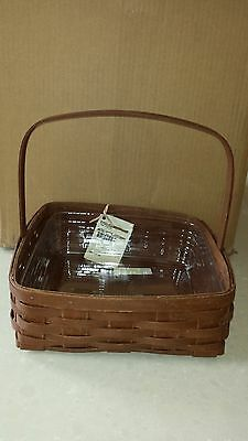 Longaberger Rich Brown Pie Basket and Protector - BRAND NEW - MINT!