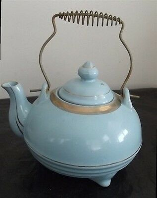 Vintage Redware Pottery Blue Trim in Gold Teapot w/ Wire Handle