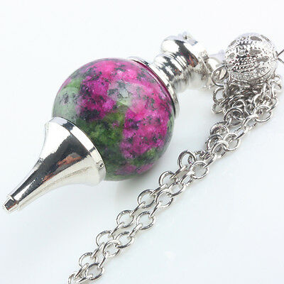 1X Ruby Zoisite Gemstone Point Stone Divination Healing Chakra Dowsing Pendulum
