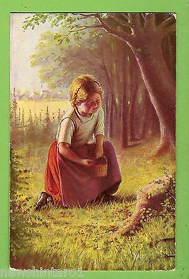 #b. German   Postcard - Girl In Edge Of Forest