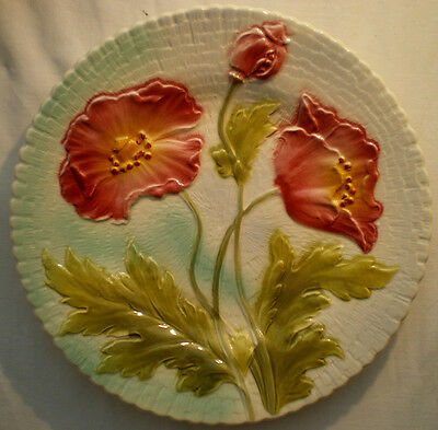 RARE French plate Majolica signed Saint Clement, 1900-1920: Pink Popies