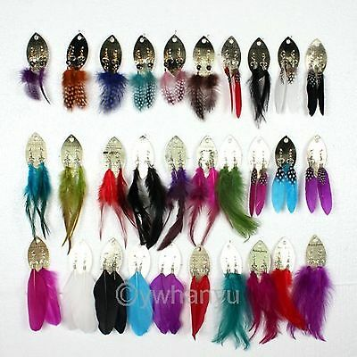 30Pairs Mix Color Wholesale Jewellery Make Natural Feather Eardrop Hook Earrings