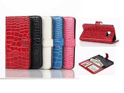 10pcs/lot Crocodile Grain Wallet Stand Leather Case For Samsung Galaxy S6 Edge