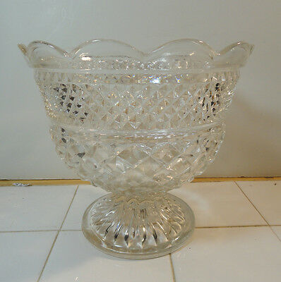 Wexford Centerpiece Footed Compote Bowl Anchor Hocking Crystal Clear Scalloped