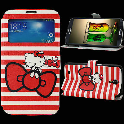 Wallet Case for Samsung Galaxy Mega 6.3 Cover Skin PU Leather Hello Kitty