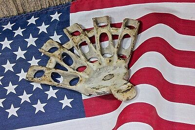 """3/8"""" flag holder holds 5 Flags bracket wall post mount rustic vintage iron old"""