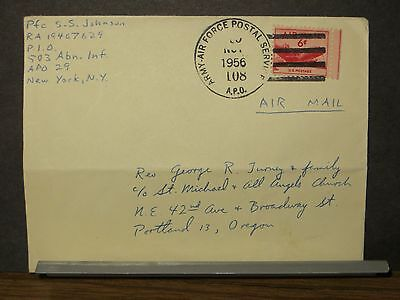 APO 29 MUNICH, GERMANY Army Cover 1956 APO 108 503rd Abn Inf