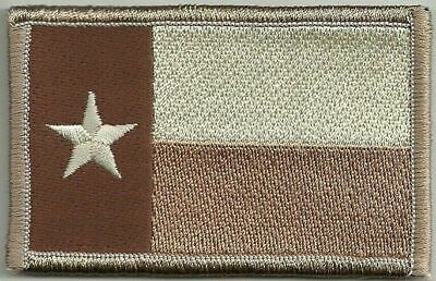 "2""x3 1/8"" Desert Tan Texas Lone Star State Flag Patch VELCRO® BRAND Hook Fastene"