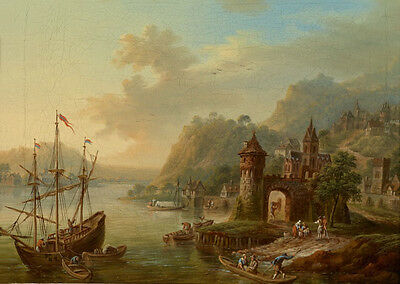 Art oil painting nice sunset landscape with sail boats ship canoes in harbor