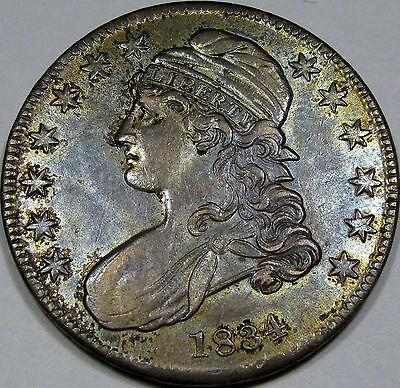 1834 O-116 Capped Bust Half Dollar Choice AU-BU...100% Original with Great COLOR