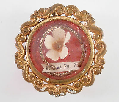 ANTIQUE PRIEST RELIQUARY POPE S PIUS Pp X THECA RELIC RELIQUARY HOLDER WAX SEAL