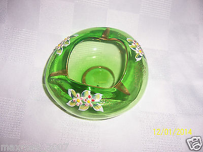 Vintage Green Hand Blown CZECH BOHEMIAN Cake Flower Ashtray Hand Painted