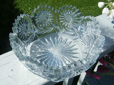 ANTIQUE VINTAGE EAPG EARLY AMERICAN GLASS SUNFLOWER FLOWER LARGE SERVING BOWL