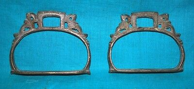 Vintage Hand Crafted Rare Brass Peacock Figured Horse Paddle Stirrups Foot Rest