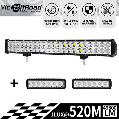 20 inch LED Light Bar Flood Spot Combo + 2x Lights Offroad Work Driving
