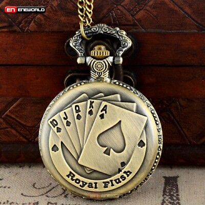 Vintage Bronze Poker Card Pocket Watch Quartz Chain Gift Necklace Pendant Retro