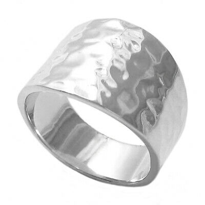 925 Sterling Silver Women's Flat Hammered Cigar Band Ring