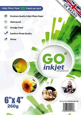 100 Sheets + 5 Extra 6x4 260gsm Glossy Photo Paper Inkjet Printers by Go Inkjet