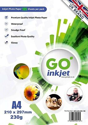 GO Inkjet A4 Glossy Photo Paper 100 Sheets 230gsm for Inkjet Printers