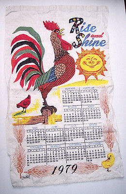 Vintage Linen Calendar Towel 1979 Kay Dee Rooster Rise And Shine Country Kitchen