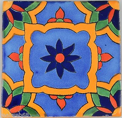 "90 Ceramic Clay  Mexican Tiles Talavera 4x4"" C350"