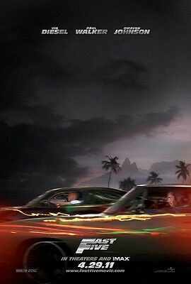 FAST FIVE movie poster print (d) VIN DIESEL, PAUL WALKER, FAST and the FURIOUS