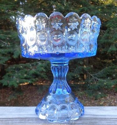 Vintage Fenton LG Wright Stunning Blue Glass Large Compote Priscilla Sun & Stars